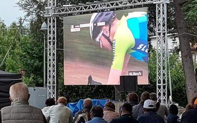 I Mondiali di Ciclismo 2020 sul ledwall dello stand Pro Loco di Rolo Terme
