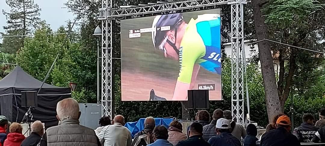ledwall nello stand della Pro Loco di Riolo Terme per i Mondiali Ciclismo 2020